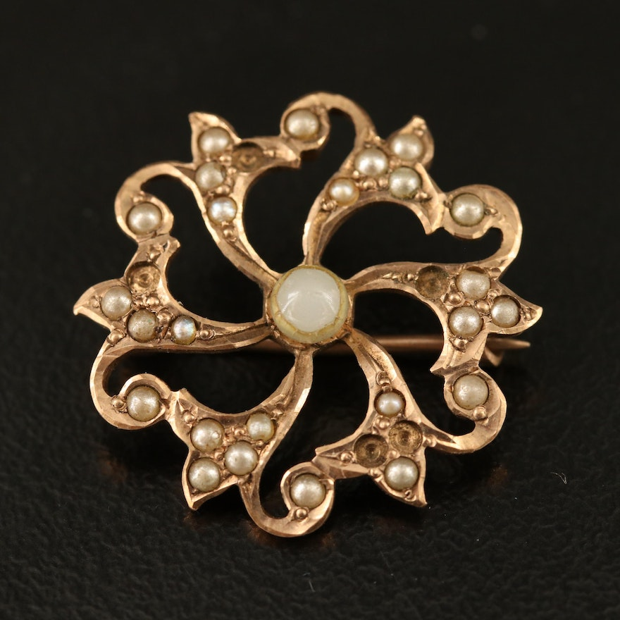 Victorian 10K Starburst Converter Brooch with Pearl and Imitation Pearl