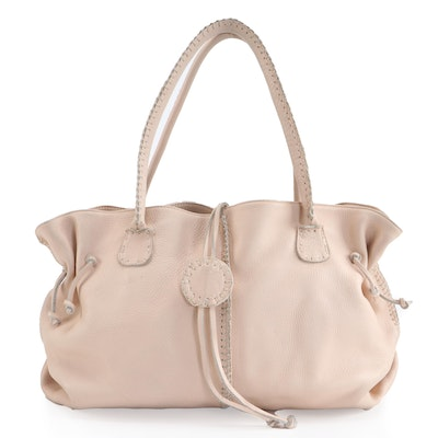 Carlos Falchi Handmade Overcast Stitch Bag in Blush Leather with Celine Dust Bag