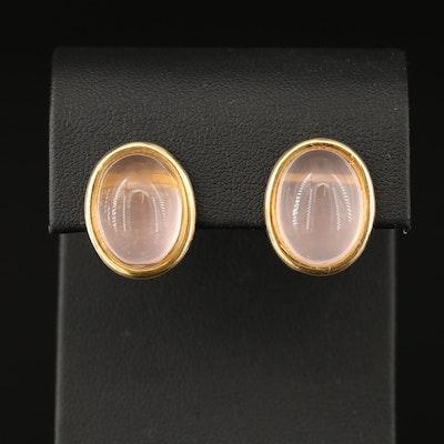 14K Rose Quartz Oval Stud Earrings