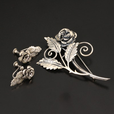 Vintage Sterling Silver Floral Themed Brooch and Earring Set