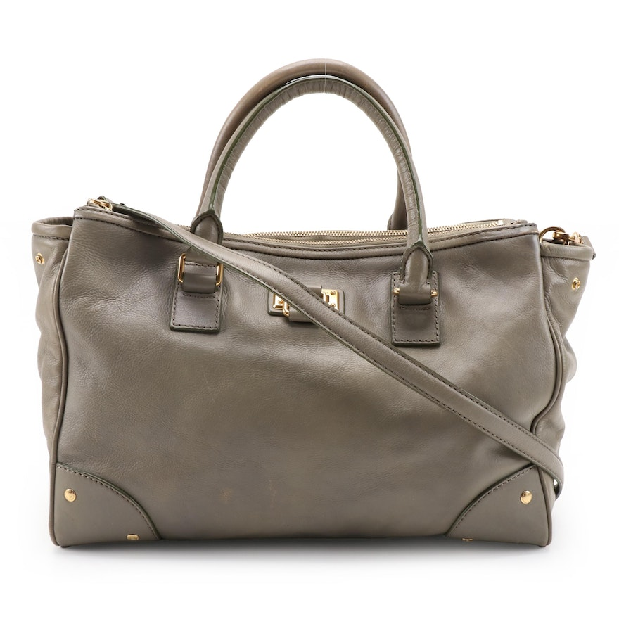 Marc By Marc Jacobs Two-Way Tote in Taupe Grained Leather with Green Accents