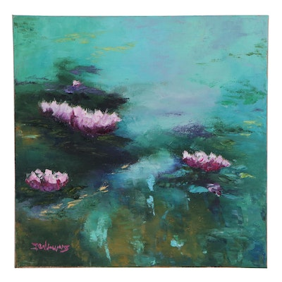 "James Baldoumas Oil Painting ""Lily Pads,"" 2020"