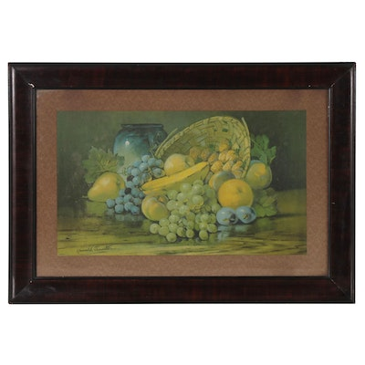 Chromolithograph of Still Life with Fruit After Arnold Forrester