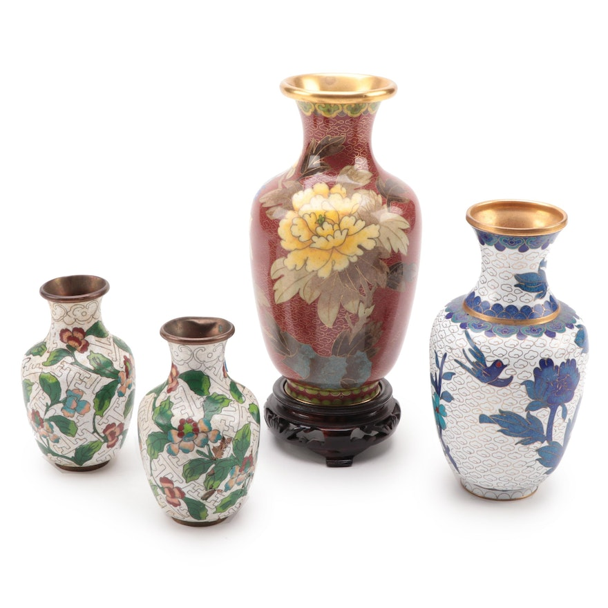 Chinese Cloisonné Floral Vases, Mid to Late 20th Vases