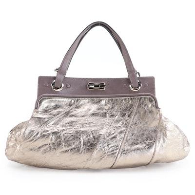 Chloé Odessa Metallic and Grained Leather Two-Way Handbag