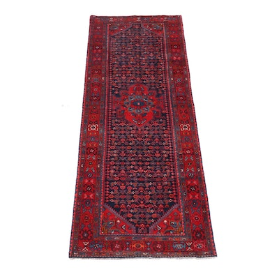 4'3 x 11'11 Hand-Knotted Persian Hamadan Wool Long Rug