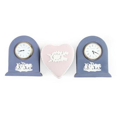 "Wedgwood Jasperware Quartz Clocks and ""Celebrating 1999"" Trinket Box"