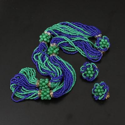 Vintage Hobé Torsade Necklace and Earrings