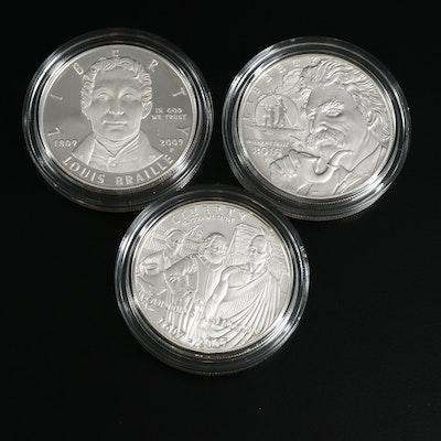 Three US Mint Commemorative Proof Silver Dollars