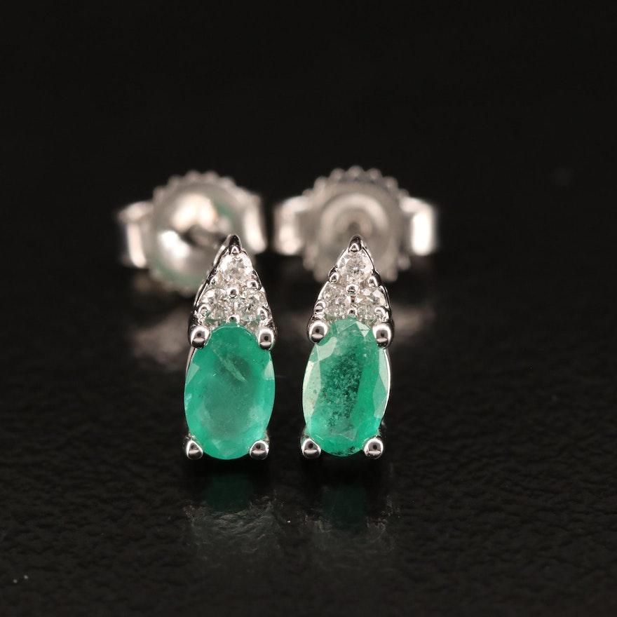 10K Emerald and Diamond Stud Earrings