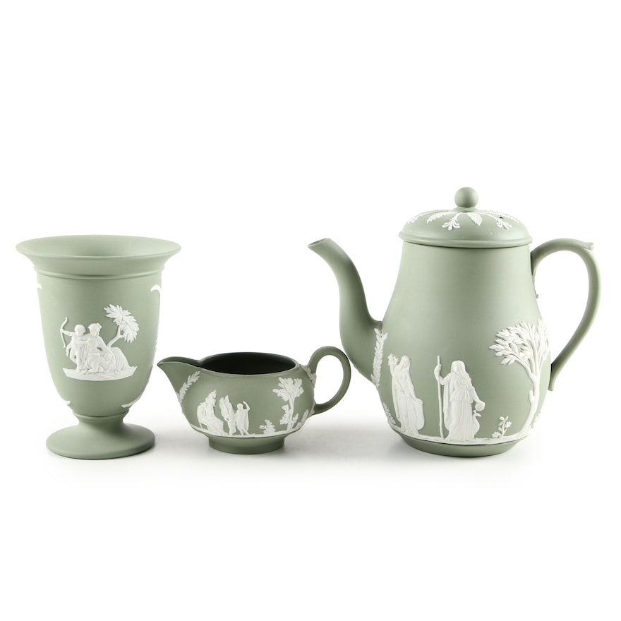 Wedgwood Sage Jasperware Pedestal Vase and Tea Set , Mid to Late 20th Century
