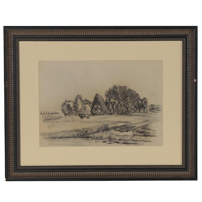 Farm Landscape Charcoal Drawing, Mid to Late 20th Century