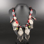 Colorful Assembled Necklace with Hand Stamped Pendants and Glass Beads