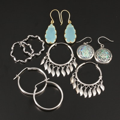 Collection of Chalcedony and Abalone Dangle and Hoop Earrings