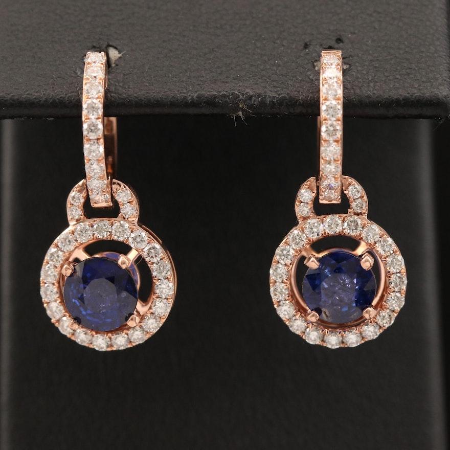 14K Rose Gold Sapphire and Diamond Earrings