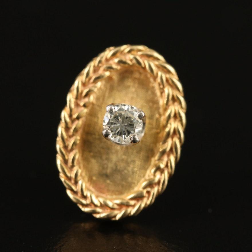 14K Diamond Lapel Pin with Braided Rim