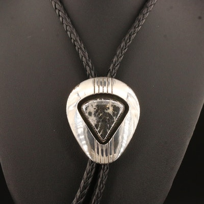 Gene and Martha Jackson Sterling Silver and Leather Hematite in Quartz Bolo Tie