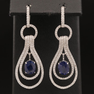 14K Sapphire and 1.90 CTW Diamond Drop Earrings