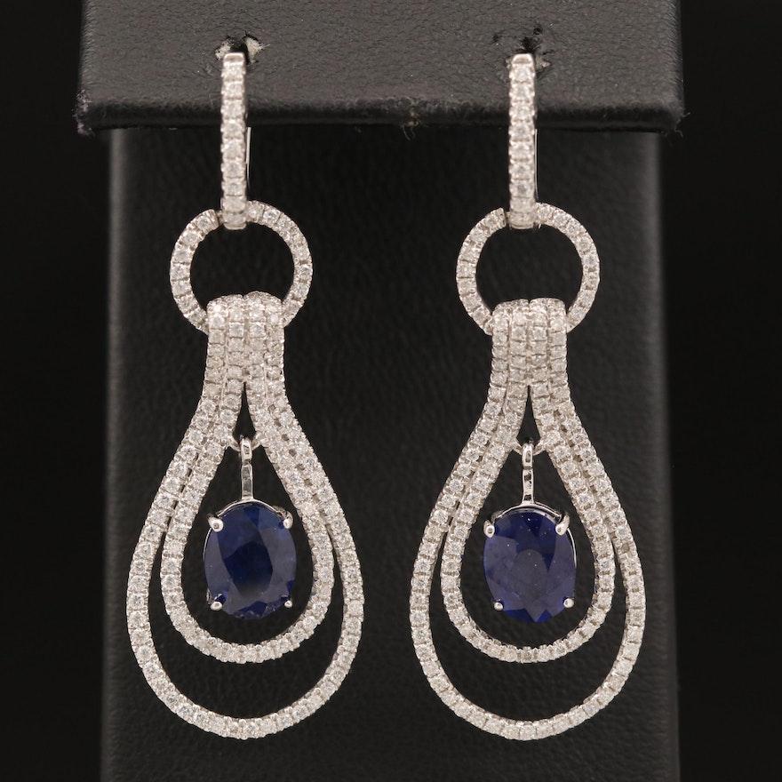 14K Sapphire and 1.90 CTW Diamond Drop Earrings