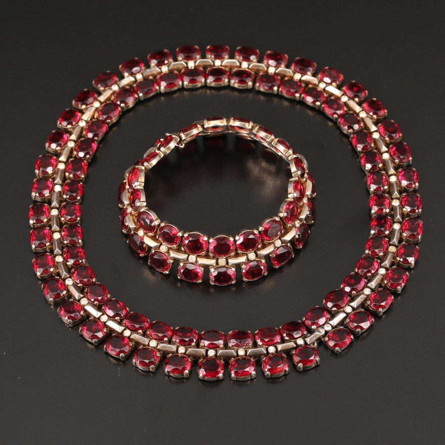 Vintage Crown Trifari Sterling Silver Matching Necklace and Bracelet Set