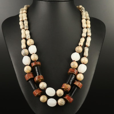 Vintage Miriam Haskell Jasper, Onyx and Glass Double Strand Bead Necklace