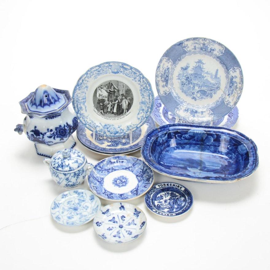 European Blue and Transferware Ironstone Tableware, Antique
