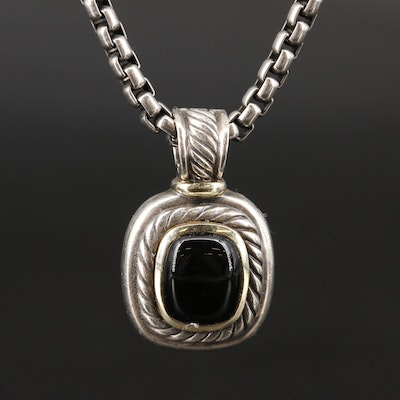 David Yurman Sterling Black Onyx Pendant Necklace with 14K Accents