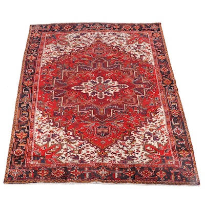 8'7 x 11'2 Hand-Knotted Persian Heriz Wool Rug