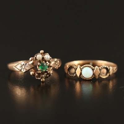 Victorian 10K Glass, Faux Pearl and Opal Rings