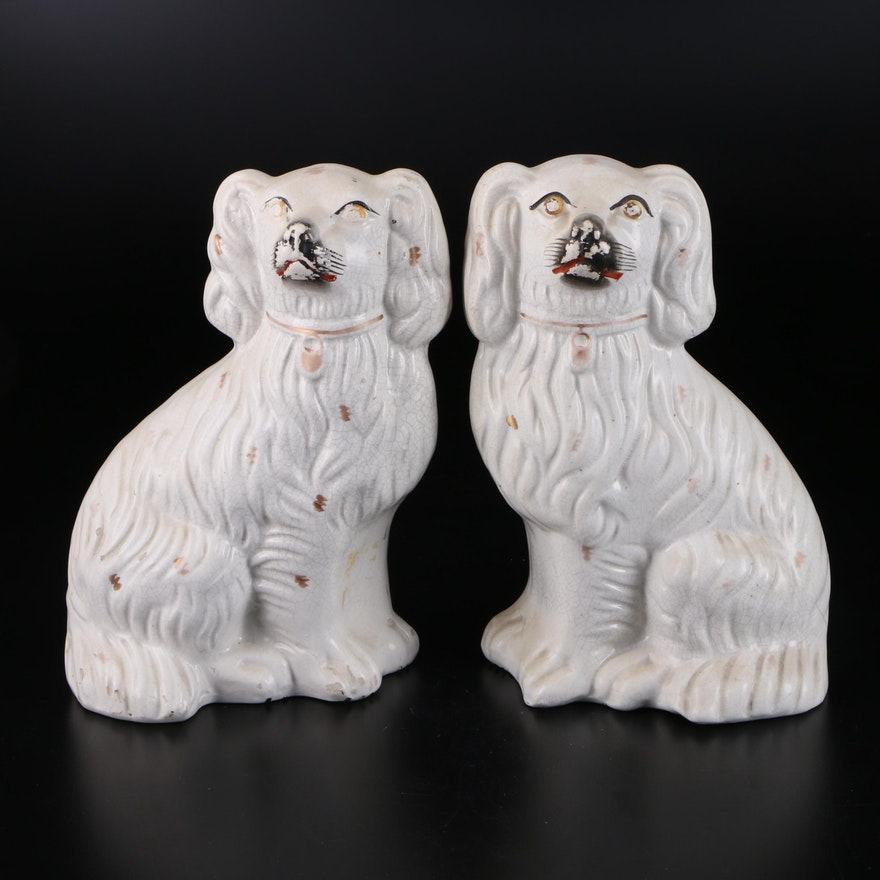 Pair of Staffordshire Spaniels, Late 19th-Early 20th Century