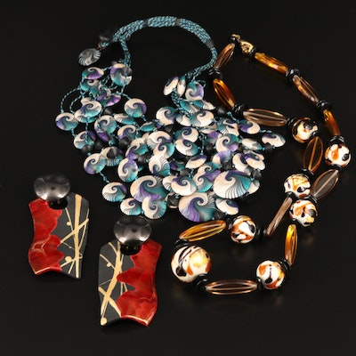Lampwork Glass Bead Necklace, Polymer Clay Bead Necklace and Raku Earrings
