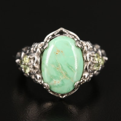 Sterling Silver Variscite and Peridot Ring with Heart Motif Shoulders