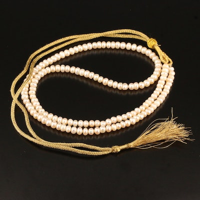 Pearl Necklace with Cord Style Clasp