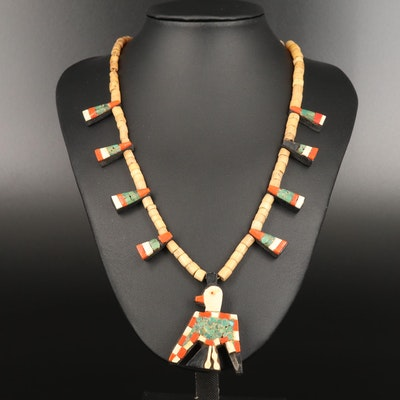 Vintage Santo Domingo Thunderbird Necklace with Coral, Bone and Turquoise