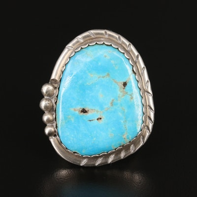 Signed Western Style Sterling Silver Turquoise Ring