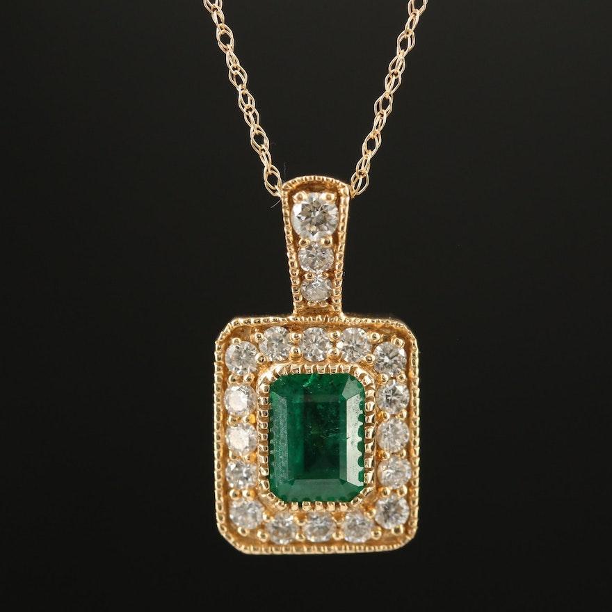 14K Emerald and Diamond Halo Pendant Necklace