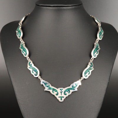 Signed Mexican Modernist Sterling Silver Malachite Inlay Necklace