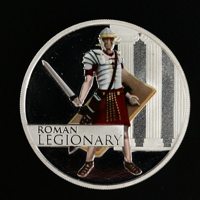 2010 Tuvalu Colorized Roman Legionary Proof Silver Dollar Issued by Perth Mint