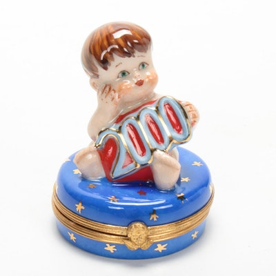 Sinclair Hand-Painted Porcelain 2000 Millennium Baby Limoges Box