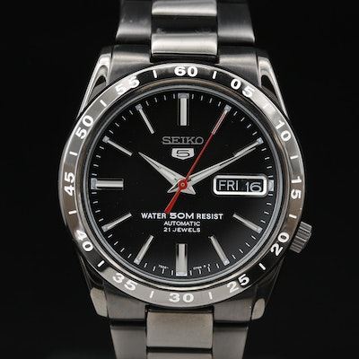 "Seiko ""5"" SNKE03 Black PVD and Stainless Steel Automatic Wristwatch"