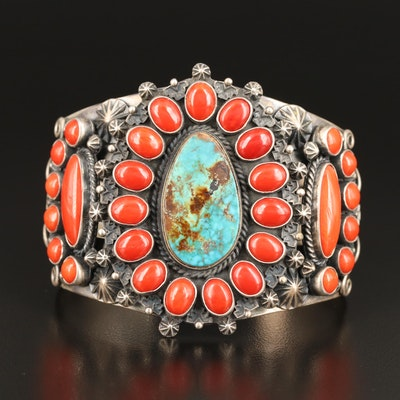 Derrick Gordon Navajo Diné Sterling Turquoise and Coral Cuff
