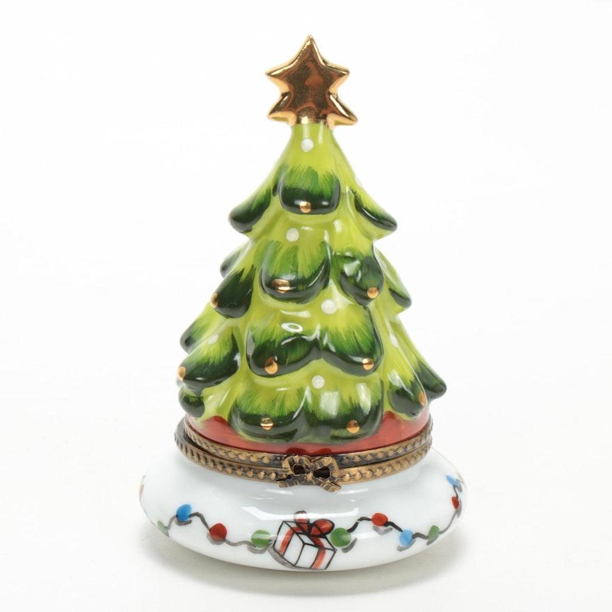 La Gloriette Hand-Painted Porcelain Christmas Tree Limoges Box