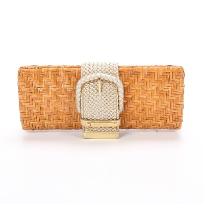 Michael Kors Clutch in Woven Wicker and Braided Metallic Leather