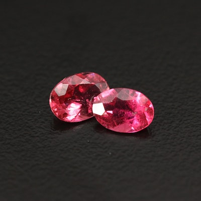 Matched Pair of Loose 1.39 CTW Oval Faceted Tourmalines