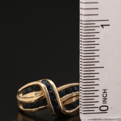 14K Sapphire Crossover Ring