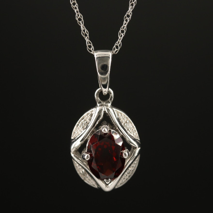 10K Garnet and Diamond Pendant on 14K Rope Link Chain