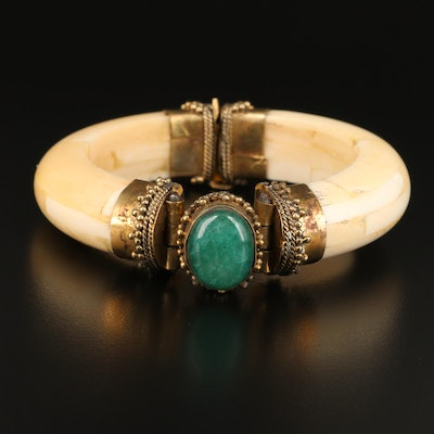 Indian Quartz and Bone Hinged Bangle