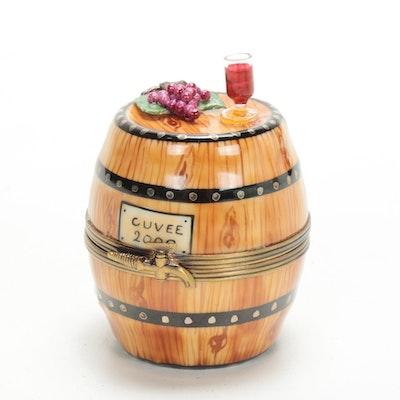 La Gloriette Hand-Painted Porcelain Wine Barrel Limoges Box