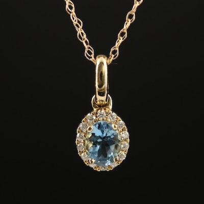 14K Aquamarine and Diamond Halo Pendant Necklace