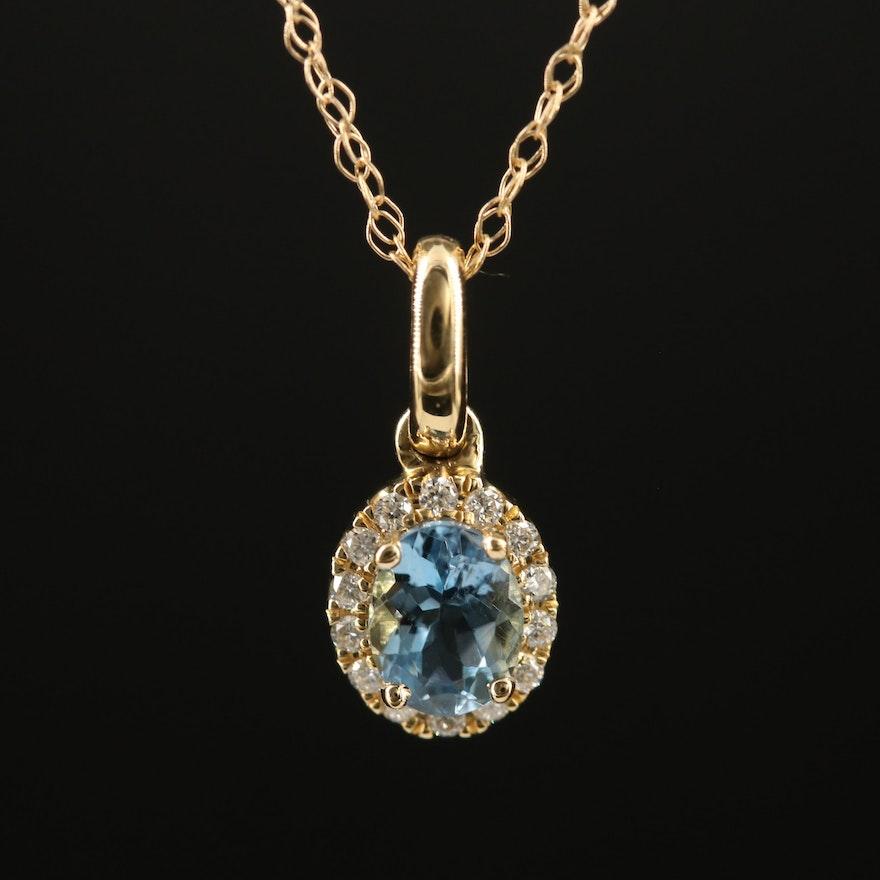 14K Aquamarine and Diamond Halo Pendant Necklace